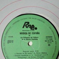 Discos de vinilo: NÚM 6. FOLKLORE. TRANSCRIPCIONES DE RNE. MÚSICA DE ESPAÑA. AG 82. LP VINILO GRANADOS SAMPER ALBENIZ. Lote 200845751