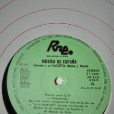 Discos de vinilo: NÚM 3. GRANADA Y SU FESTIVAL DE MÚSICA Y DANZA. TRANSCRIPCIONES DE RNE. MÚSICA DE ESPAÑA. JL 82. LP. Lote 200850976