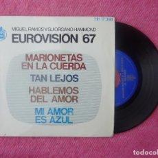 Discos de vinilo: EP MIGUEL RAMOS Y SU ORGANO HAMMOND - MARIONETAS EN LA CUERDA +3 - HISPAVOX HH 17-398 (EX+/EX+). Lote 201216680
