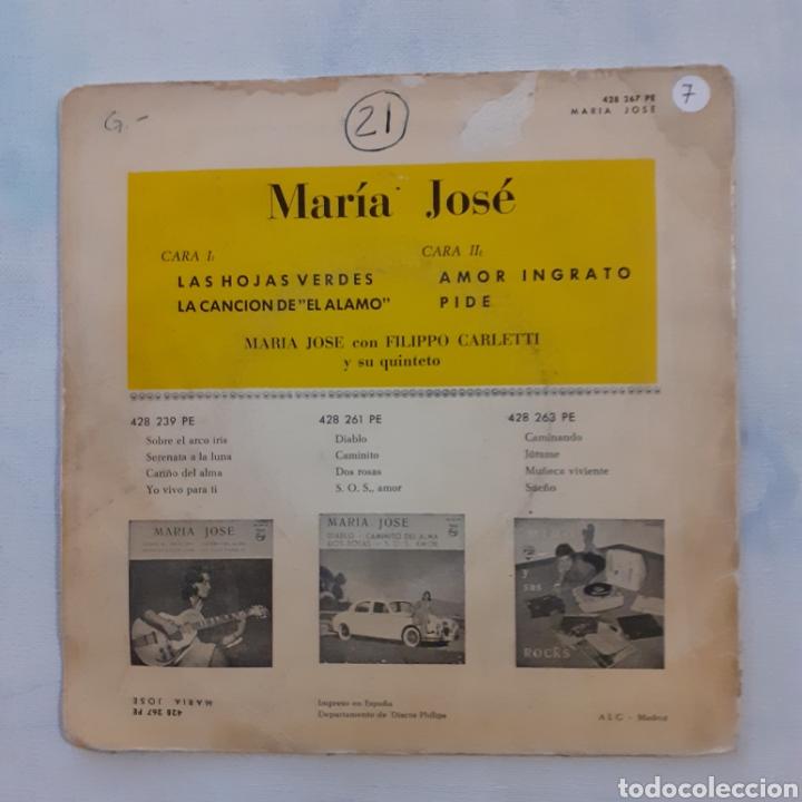 Discos de vinilo: María José. Las hojas verdes. EP. Philips. 428 267 PE. 1961. Funda G. Disco VG++. - Foto 2 - 201528953