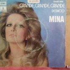 Disques de vinyle: *MINA - GRANDE, GRANDE, GRANDE / DESPACIO - SG AÑO 1972 - LEER DESCRIPCIÓN. Lote 201664695
