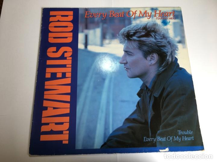 VINILO MAXI ROD STEWART - EVERY BEAT OF MY HEART - TROUBLE (Música - Discos de Vinilo - Maxi Singles - Pop - Rock Extranjero de los 70)