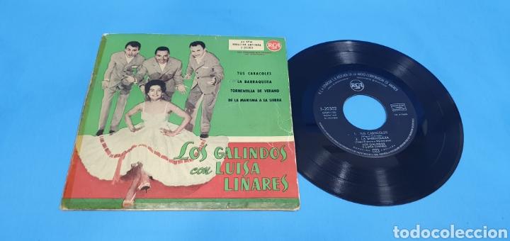 DISCO VINILO SINGLE LOS GALINDOS COM LUISA LINARES RCA TUS CARACOLES , LA BARRAQUERA (Música - Discos - Singles Vinilo - Solistas Españoles de los 50 y 60)