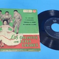 Discos de vinilo: DISCO VINILO SINGLE LOS GALINDOS COM LUISA LINARES RCA TUS CARACOLES , LA BARRAQUERA. Lote 201731502