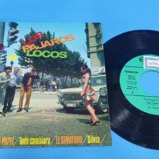 Discos de vinilo: DISCO DE VINILO SINGLE PROMOCIONAL LOS PAJAROS LOCOS , TRAJECITOS DE PAPEL RARO. 1967. EKIPO. Lote 201738748