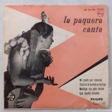 Discos de vinilo: LA PAQUERA CANTA. MI CANTO POR BULERÍAS. PHILIPS 421 214 PE. 1958. FUNDA VG+. DISCO VG++.. Lote 222841833