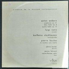 Discos de vinilo: WEBERN/NONO/STOCKHAUSEN/ BOULEZ - LES CONCERTS DU DOMAINE MUSICAL - VINYL LP. Lote 201789291