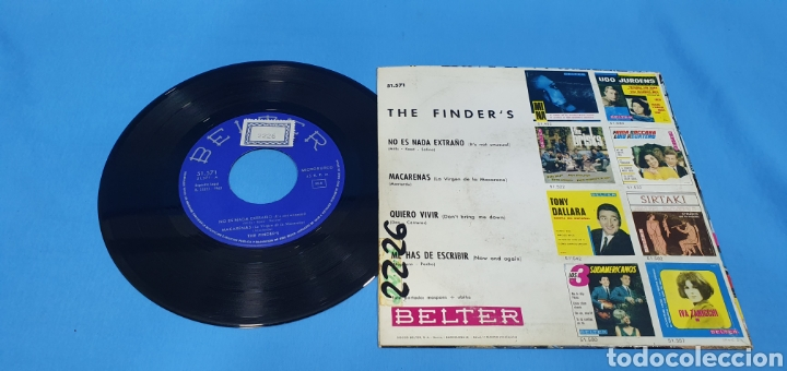 Discos de vinilo: Disco de vinilo single the finders . Quiero vivir. Belter. 1965 - Foto 2 - 201801388