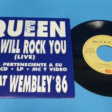 Discos de vinilo: DISCO DE VINILO SINGLE QUIEN SE WILL ROCK YOU , WMBLEY 86. Lote 201802921