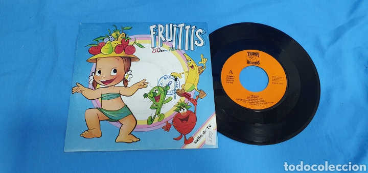 DISCO DE VINILO SINGLE PROMOCIONAL LOS FRUITTIS. SERIE T.V. 1990 (Música - Discos - Singles Vinilo - Bandas Sonoras y Actores)