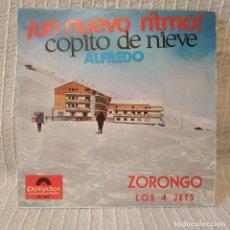 Discos de vinilo: ALFREDO / COPITO DE NIEVE + LOS 4 JETS / ZORONGO - UN NUEVO RITMO - MUY RARO SINGLE POLYDOR DE 1966. Lote 202078857