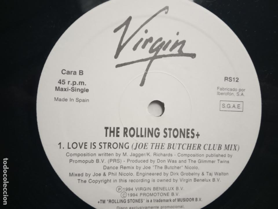 Discos de vinilo: THE ROLLING STONES- LOVE IS STRONG (JOE THE BUTCHER CLUB MIX)- MAXI SINGLE PROMO SPAIN 1994- EXC. - Foto 3 - 202101196