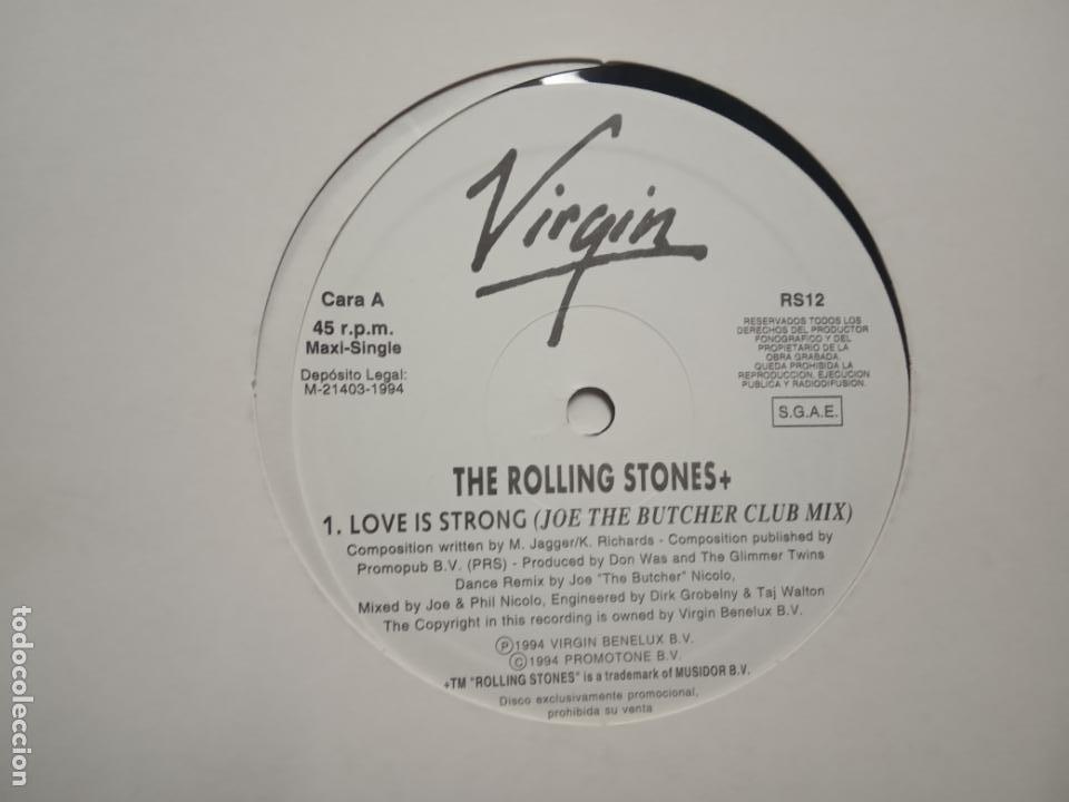 THE ROLLING STONES- LOVE IS STRONG (JOE THE BUTCHER CLUB MIX)- MAXI SINGLE PROMO SPAIN 1994- EXC. (Música - Discos de Vinilo - Maxi Singles - Pop - Rock Extranjero de los 90 a la actualidad)