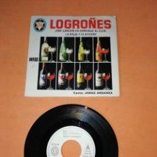 Discos de vinilo: LOGROÑES- UNA CANCION HOMENAJE AL CLUB LA RIOJA Y LA AFICION- JORGE ARDANZA. 1989.. Lote 202261428