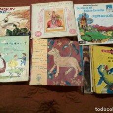 Discos de vinilo: LOTE DE 13 SINGLES DE CUENTOS FRANCESES ANTIGUOS, VER FOTOS Y DESCRIPCIÓN. Lote 202316725