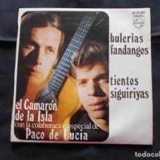 Discos de vinilo: EL CAMARON DE LA ISLA CON PACO DE LUCIA // BULERIAS, FANDANGOS, TIENTO, SIGUIRIYAS. Lote 202341090