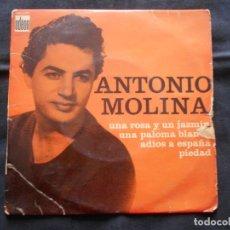 Discos de vinilo: EP ANTONIO MOLINA // UNA ROSA Y UN JAZMIN + 3. Lote 202343896