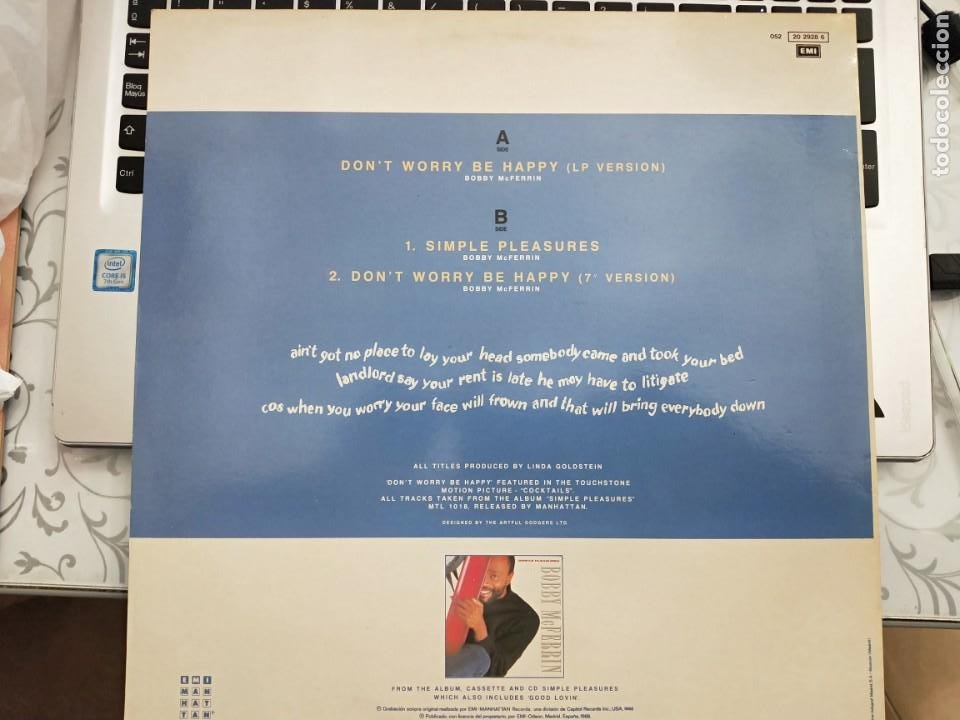 Discos de vinilo: Bobby McFerrin - Dont Worry, Be Happy ( Maxi)1988 EMI-Records 052 20 2928 6.COMO NUEVO - Foto 2 - 202442716