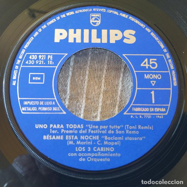 Discos de vinilo: LOS 3 CARINO - UNO PARA TODAS + 3 - SU MAS RARO EP 7 45 RPM FESTIVAL DE SAN REMO 1963 SELLO PHLIPS - Foto 3 - 202446750