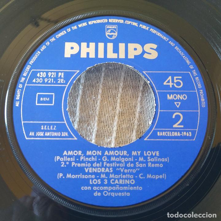 Discos de vinilo: LOS 3 CARINO - UNO PARA TODAS + 3 - SU MAS RARO EP 7 45 RPM FESTIVAL DE SAN REMO 1963 SELLO PHLIPS - Foto 4 - 202446750