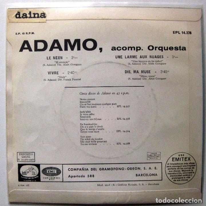 Discos de vinilo: Adamo - Le Neon +3 - EP La Voz De Su Amo 1967 BPY - Foto 2 - 202468011