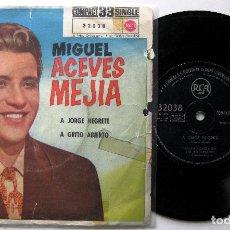 Discos de vinilo: MIGUEL ACEVES MEJIA - A JORGE NEGRETE / A GRITO ABIERTO - SINGLE RCA 1961 BPY. Lote 202470786