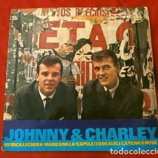 Discos de vinilo: JOHNNY & CHARLEY (EP. 1965) MI VACA LECHERA - LA YENCA RUSA - CAPULLITO DE ALELI - MANZANILLA. Lote 202534391