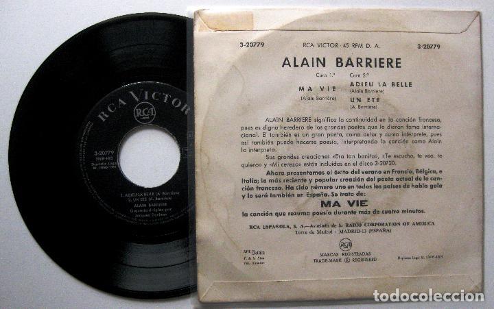 Discos de vinilo: Alain Barrière - Ma Vie + 2 - EP RCA Victor 1964 BPY - Foto 2 - 202545296