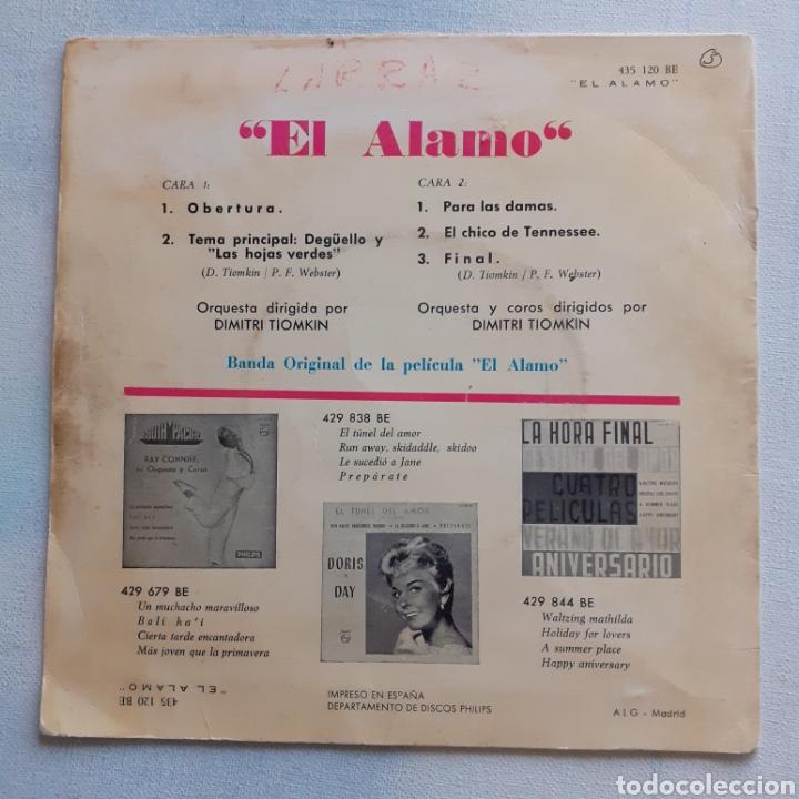 Discos de vinilo: El Alamo. BSO. Philips 435 120 BE. España 1961. Funda VG+. Disco VG+. - Foto 2 - 202558553