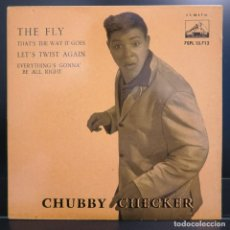 Discos de vinilo: CHUBBY CHECKER EP THE FLY, LET'S TWIST AGAIN 1962. Lote 202614537