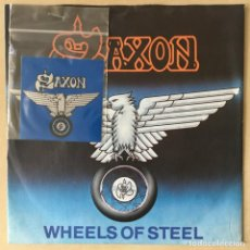 Discos de vinilo: SAXON – WHEELS OF STEEL, PATCH, UK 1980 CARRERE. Lote 202700196