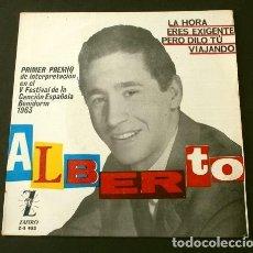 Discos de vinilo: ALBERTO PESTAÑA (EP. 1963) V FESTIVAL DE LA CANCION DE BENIDORM - LA HORA - (1º PREMIO) -. Lote 202700617