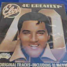 Discos de vinilo: PRECIOSO LP ELVIS 40 GREATEST DOBLE LP ORIGINAL TRACKS ARCADE UK 77 FIRMA EN PORTADA. Lote 202761966