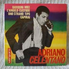 Discos de vinilo: ADRIANO CELENTANO - BAMBINI MIEI + 3 EP DE 4 CANCIONES SELLO VERGARA AÑO 1964 COMO NUEVO. Lote 202895588