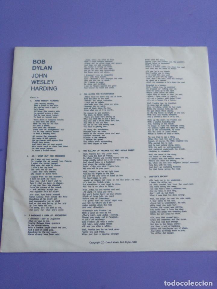 Discos de vinilo: LP. BOB DYLAN. JOHN WESLEY HARDING, SELLO CBS S 63252. AÑO 1970 + ENCARTE CON LETRAS. - Foto 8 - 202904043