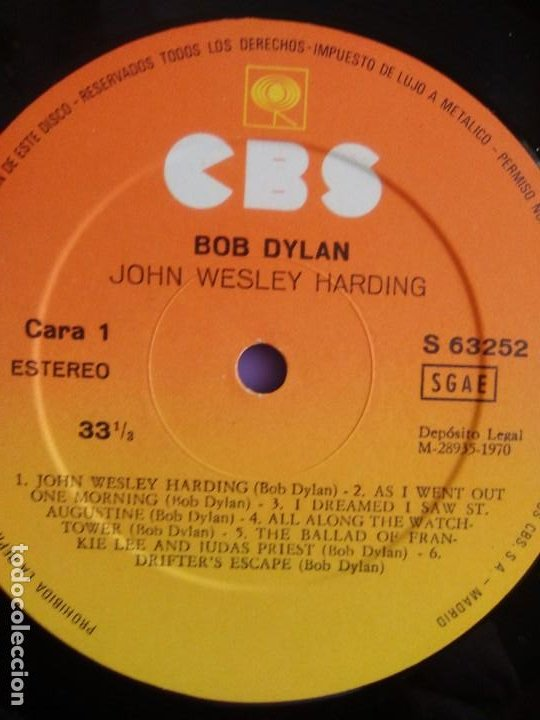 Discos de vinilo: LP. BOB DYLAN. JOHN WESLEY HARDING, SELLO CBS S 63252. AÑO 1970 + ENCARTE CON LETRAS. - Foto 11 - 202904043
