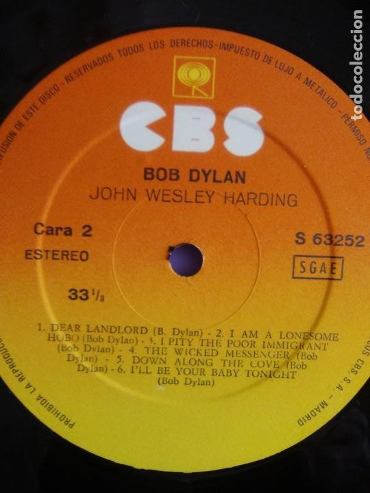 Discos de vinilo: LP. BOB DYLAN. JOHN WESLEY HARDING, SELLO CBS S 63252. AÑO 1970 + ENCARTE CON LETRAS. - Foto 12 - 202904043