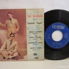 Discos de vinilo: LOS ANDINOS CON EL CONJUNTO SEGALI - AMOR Y FUTBOL +3 - EP - 1971 - VG/VG. Lote 202930523
