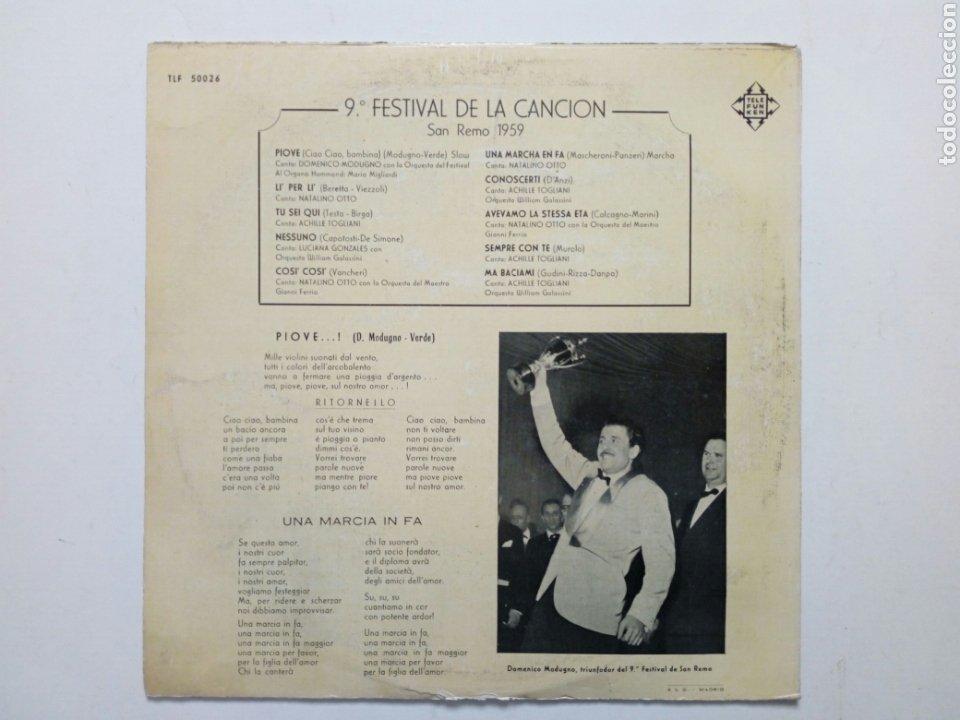 Discos de vinilo: LP: 9º Festival de la canción SAN REMO 1959 (Telefunken 1969) Domenico Modugno (PIOVE) Natalino Otto - Foto 2 - 202961572
