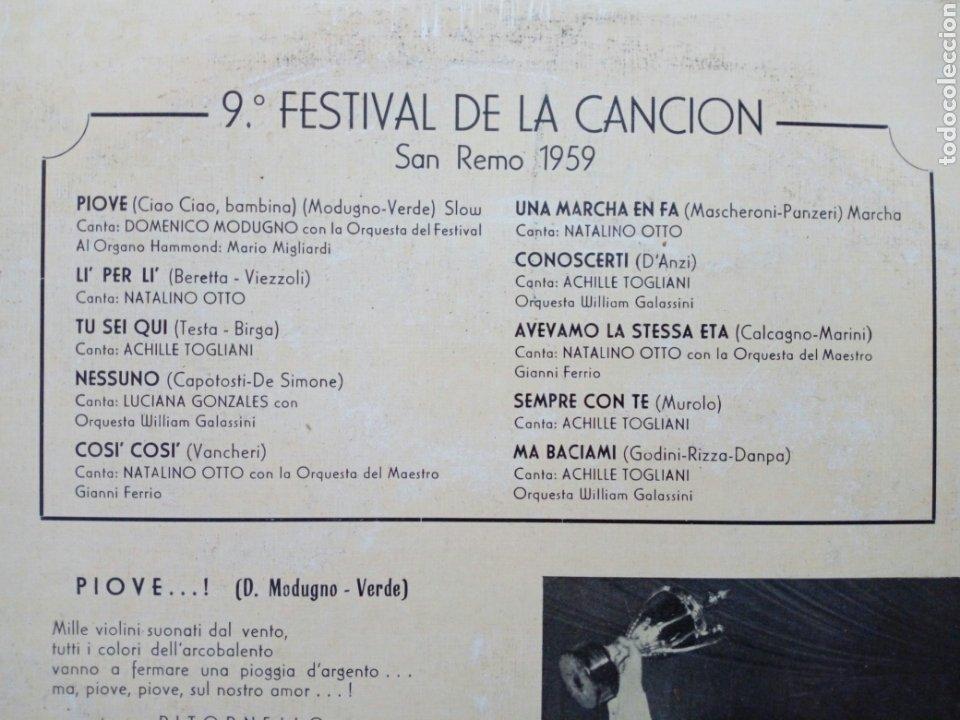 Discos de vinilo: LP: 9º Festival de la canción SAN REMO 1959 (Telefunken 1969) Domenico Modugno (PIOVE) Natalino Otto - Foto 3 - 202961572