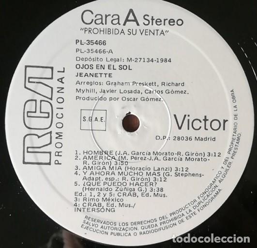 Discos de vinilo: JEANETTE - EX PIC NIC - KIT PROMOCIONAL OJOS EN EL SOL - LP + FOLDER - 1984 # - Foto 2 - 203017906