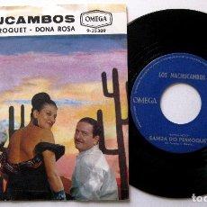 Discos de vinilo: LOS MACHUCAMBOS (BOSSA NOVA) - SAMBA DO PERROQUET / DONA ROSA - SINGLE OMEGA 1963 HOLANDA BPY. Lote 203037655