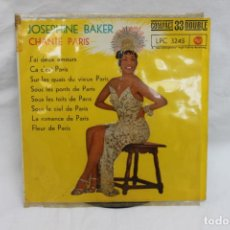 Discos de vinilo: JOSEPHINE BAKER, SINGLE, CHANTE PARIS, RCA, 1962. Lote 203212280