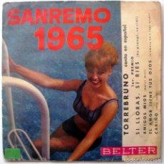 Discos de vinilo: TORREBRUNO - SANREMO 1965 (SI LLORAS, SI RIES + 3) - EP BELTER 1965 BPY. Lote 203252382