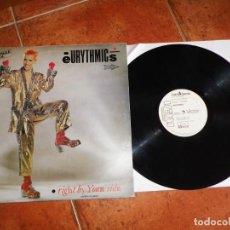 Discos de vinilo: EURYTHMICS RIGHT BY YOUR SIDE MAXI SINGLE VINILO CON HOJA PROMO 1983 ESPAÑA ANNIE LENNOX 3 TEMAS. Lote 158598898