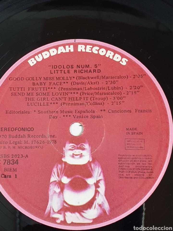 Discos de vinilo: Little Richard – The King Of RockNRoll, Buddah Records – C 7834, Idolos – 5, 1978, españa. - Foto 7 - 203410895