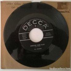 Discos de vinilo: BILL MONROE. LONESOME WIND BLUES/ COME GO WITH ME. DECCA, USA 1959 SINGLE. Lote 203541703