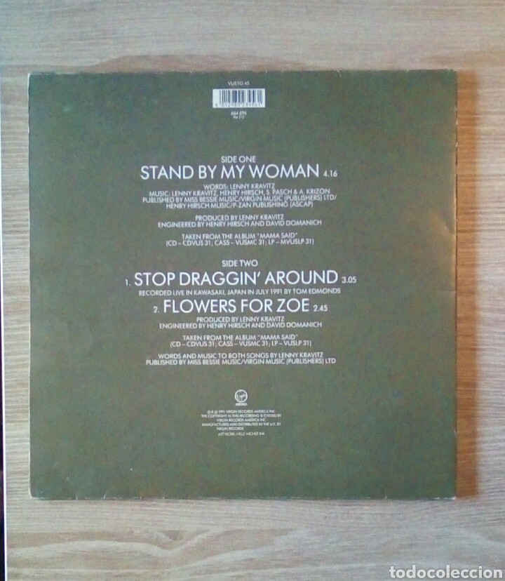 "Discos de vinilo: Lenny Kravitz - Stand by my woman, Ep 12"", Virgin 1991. UK. - Foto 8 - 203566448"