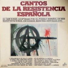 Discos de vinilo: CANTOS DE LA RESISTENCIA ESPAÑOLA - DOBLE LP 1977. Lote 203593527