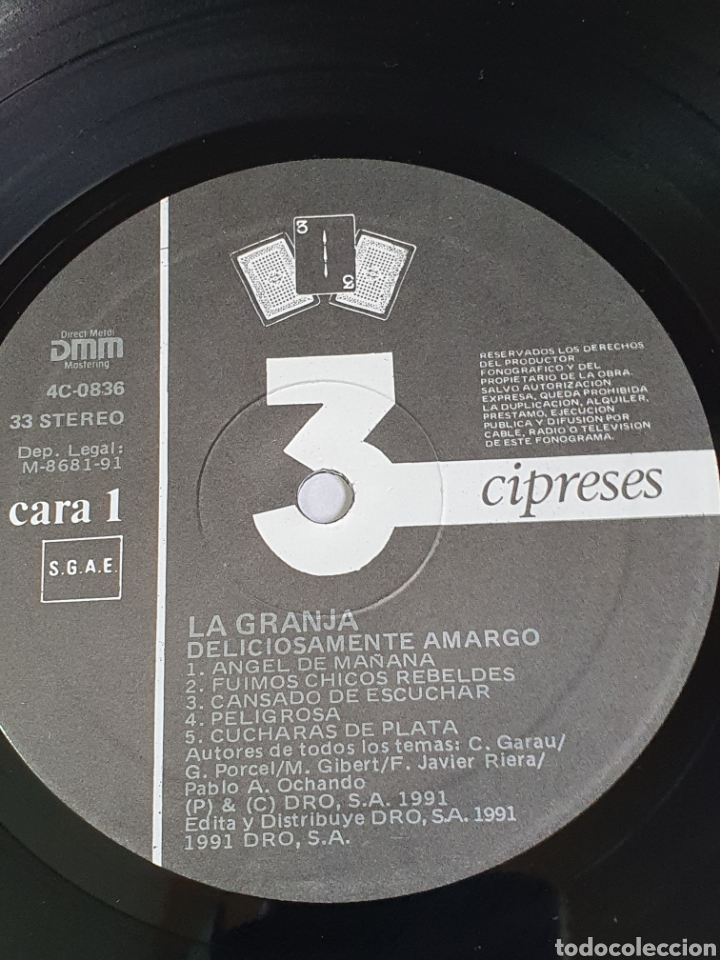 Discos de vinilo: La Granja – Deliciosamente Amargo, 3 Cipreses, 4C0836, 1991, Rock, Pop, español. - Foto 3 - 203598556